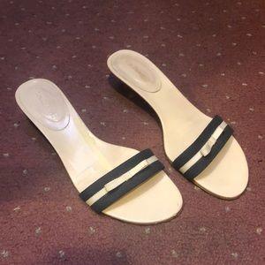 LK Bennett Navy & Cream Sandals size 8